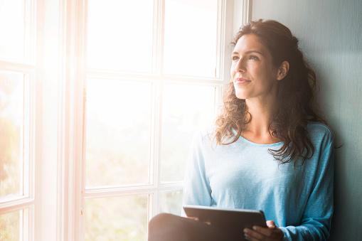 woman thoughtful meditation