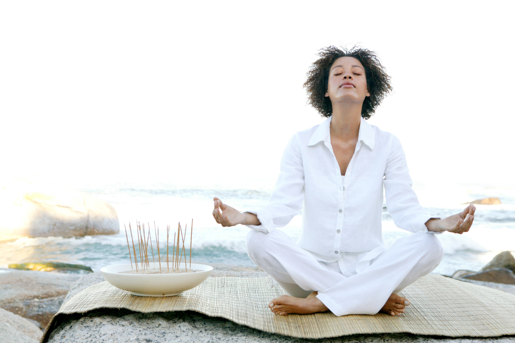 woman ocean breathing meditate