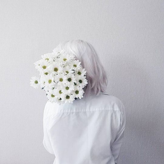 white flowers woman